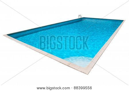 Swimming pool with blue water isolated
