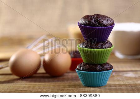 Three Chocolate Cupcakes