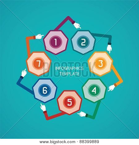 Abstract Vector 7 Steps Infographic Template In Flat Style For Layout Workflow Scheme, Numbered Opti