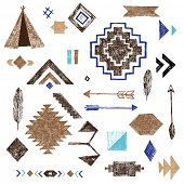 picture of wigwams  - Hand drawn tribal elements set on white background - JPG
