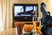 Television, Tv Watching (movie) With Feet On Table And Huge Amounts Of Snacks poster