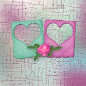 picture of san valentine  - Card for congratulation or invitation with slides and pink roses - JPG