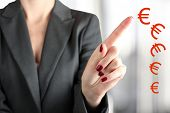 image of depreciation  - The Businesswoman Touching dropping euro by finger - JPG