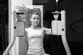 stock photo of training gym  - Attractive woman in gym - JPG