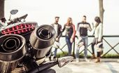 image of biker  - bikers group of friends spending time on the hills after motorcycle ride - JPG