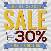 picture of year end sale  - Shopping Cart With 30 Percent End of Season Sale Illustration - JPG