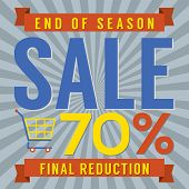 picture of year end sale  - Shopping Cart With 70 Percent End of Season Sale Illustration - JPG