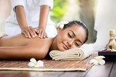 stock photo of therapist massage  - Spa massage outdoor - JPG