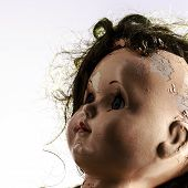 picture of scary face  - head of beatiful scary doll like from horror movie  - JPG