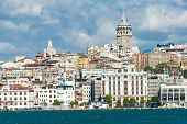 pic of historical ship  - Galata Tower over the Golden Horn in Istanbul - JPG