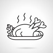 stock photo of poultry  - Black line vector icon for dish with baked poultry with vegetables on white background - JPG