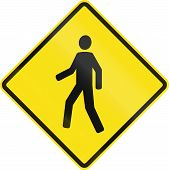 stock photo of pedestrian crossing  - Chilean road warning sign  - JPG