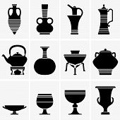 stock photo of crockery  - Set of some pieces crockery on grey background - JPG