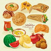 stock photo of shawarma  - Traditional eastern cuisine in realistic colorful style - JPG