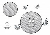 picture of dimples  - Happy smiling white golf ball cartoon character with symmetric dimpled pattern for sporting mascot design - JPG