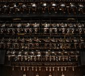 picture of stage decoration  - Big set of stage lighting equipment on an empty theater stage - JPG