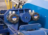 image of cylinder  - Hydraulic Cylinders on Lifting Bridge blue color - JPG