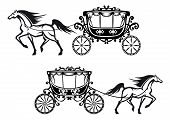 pic of harness  - Horses harnessed to a antique carriages with elegant curtains on the windows and floral elements on the roofs and doors for wedding design - JPG