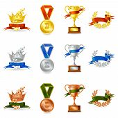 picture of prize  - Set of colored victory awards and prize medals isolated vector illustration - JPG