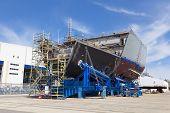 stock photo of shipbuilding  - Ship under construction in a modern shipyard - JPG