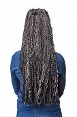 stock photo of braids  - model with black and light beige colors kanekalon material African braids on the hair isolated on white background - JPG