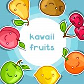 foto of kawaii  - Background with cute kawaii smiling fruits stickers - JPG