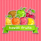 image of kawaii  - Background with cute kawaii smiling fruits stickers - JPG