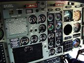 stock photo of helicopters  - Helicopter cockpit inside. Instruments and control panel