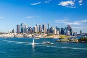picture of cbd  - The Sydney CBD and surrounding harbour from Balls Head Reserve on a summer day on February 8th 2015 - JPG