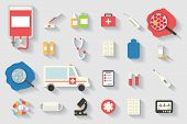 pic of ambulance  - Medical and healthcare vector icons set - JPG
