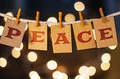 picture of rest-in-peace  - The word PEACE printed on clothespin clipped cards in front of defocused glowing lights - JPG