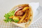 image of sandwich wrap  - chicken wrap sandwich on white plate - JPG