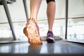 picture of ankle shoes  - Digital composite of Highlighted foot bones of jogging woman - JPG