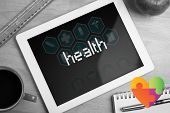 stock photo of autism  - The word health and autism awareness heart against medical interface in blue and white - JPG