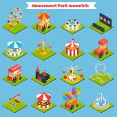 stock photo of amusement park rides  - Amusement park isometric icons set with 3d ferris - JPG