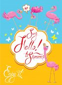 stock photo of pink flamingos  - Funny Card with pink flamingos on light blue and yellow background - JPG