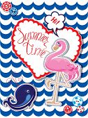 picture of pink flamingos  - Funny Card with pink flamingo and blur whale on stripe background - JPG