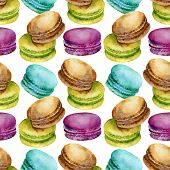 picture of french pastry  - Seamless pattern of bright colored French pastries macaroon - JPG
