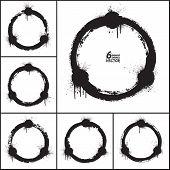 foto of circle shaped  - Grunge abstract circle shapes vector set - JPG