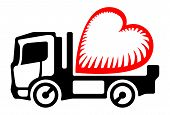 foto of lorries  - Symbol of black lorry deliver stylized red heart - JPG