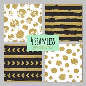 pic of pattern  - Set of 4 hand drawn seamless trendy patterns with ink brush strokes - JPG