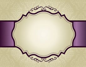 stock photo of invitation  - Elegant gold and purple damask pattern background with ribbon - JPG