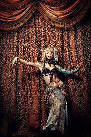 picture of belly-dance  - Beautiful traditional female dancer - JPG