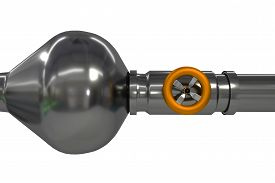 picture of blown-up  - industrial pipeline with orange valve blown up high pressure - JPG