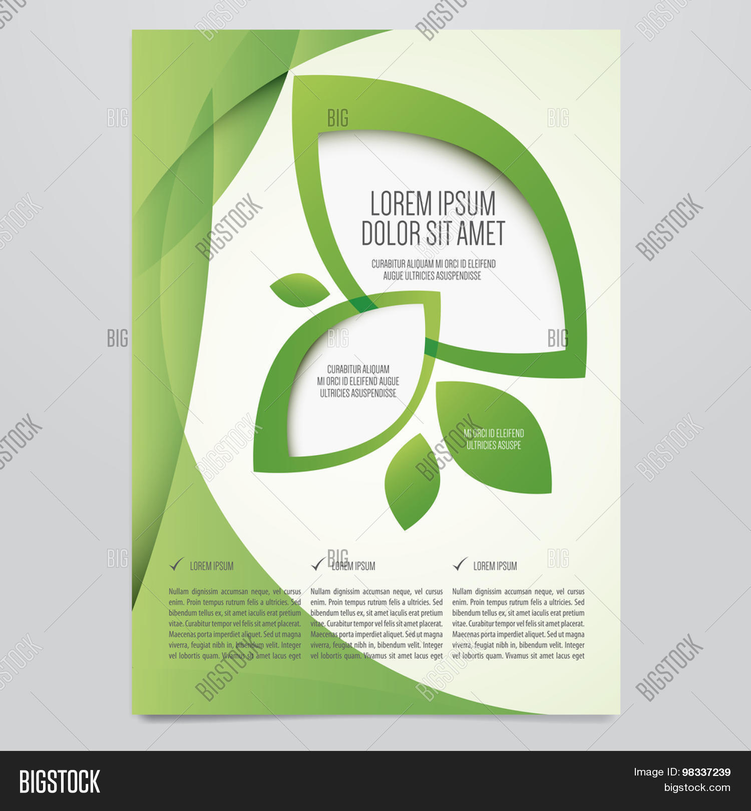 Poster design environment - Vector Eco Flyer Poster Brochure Magazine Cover Template Modern Green Leaf