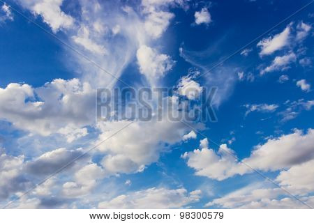 Fragment Of Sky With Cumulus Clouds And Cirrus Cloud
