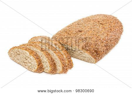 Bread With Bran Partly Sliced On A Light Background