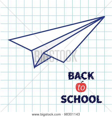 Origami Paper Plane Handdrawn Doodle Paper Sheet Background Exercise Book Back To School Flat Design