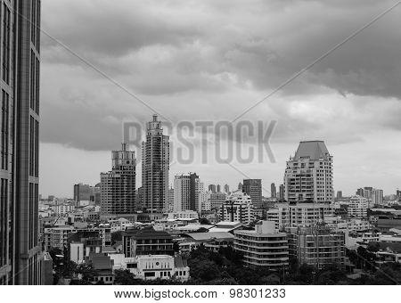 View Of Urban Bangkok City Monochrome