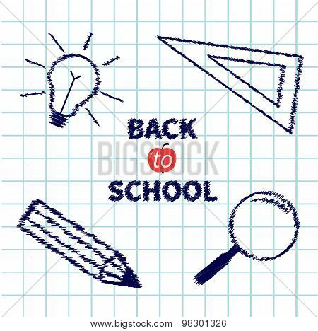 Handdrawn Doodle Magnifier, Pencil, Light Bulb, Ruller On Paper Sheet Background Exercise Book Back